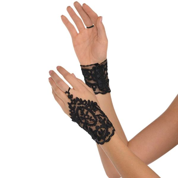 Adults Black Lace Glovettes Fancy Dress Outfit Accessory
